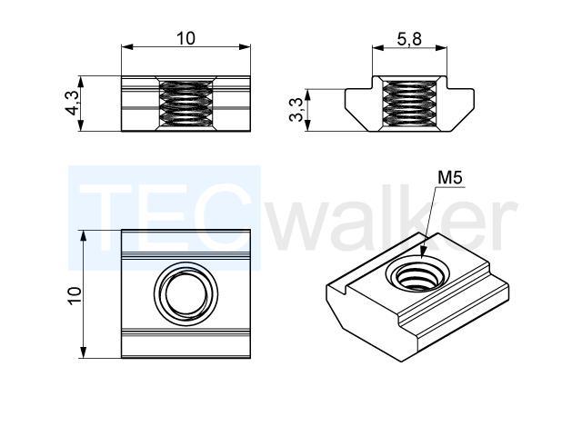 nutenstein nut 6 schiebbar m5 verbindungstechnik nutensteine. Black Bedroom Furniture Sets. Home Design Ideas